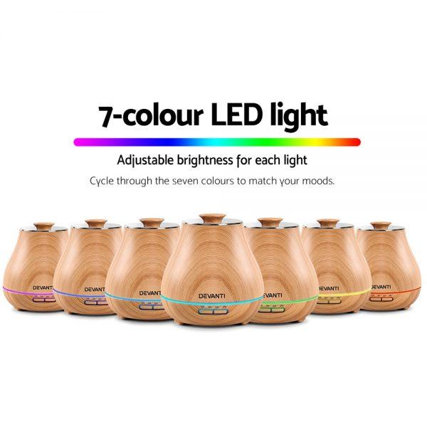 DEVANTi Aroma Diffuser Air Humidifier Light Wood Grain 400ml