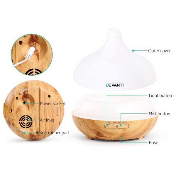 DEVANTi Aroma Diffuser Air Humidifier Night Light 300ml