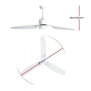 Devanti 52'' Ceiling Fan With LED Light DC Motor Remote Control 1300mm White