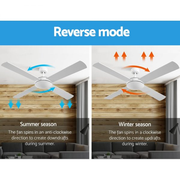 Devanti 52 inch 1300mm Ceiling Fan 4 Wooden Blades with Remote Reversible Fans White