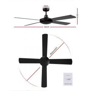 Devanti 52 inch 1300mm Ceiling Fan Wall Control 4 Wooden Blades Cooling Fans Black