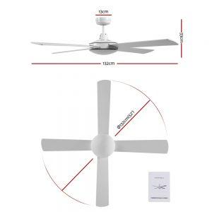 Devanti 52 inch 1300mm Ceiling Fan Wall Control 4 Wooden Blades Cooling Fans White
