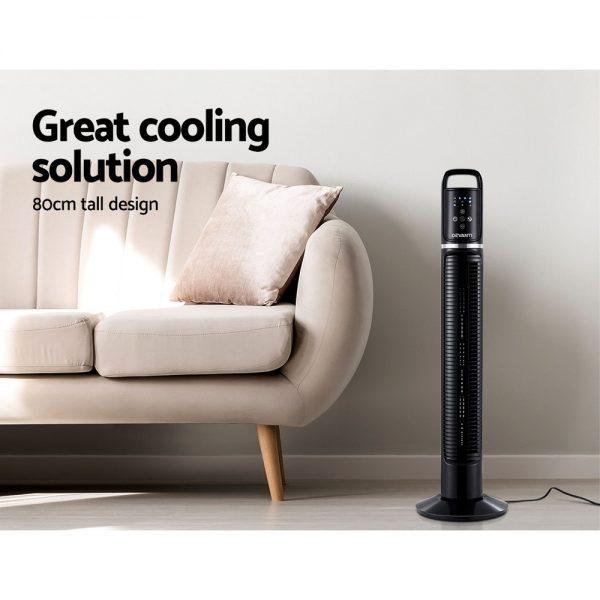 Devanti 80cm 32'' Tower Fan Oscillating Bladeless Fans wRemote Timer