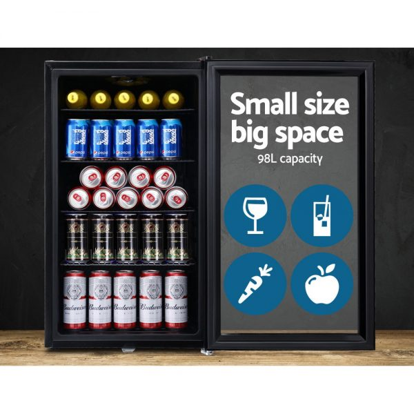 Devanti 98L Bar Fridge Glass Door Mini Freezer Fridges Countertop Beverage Commercial