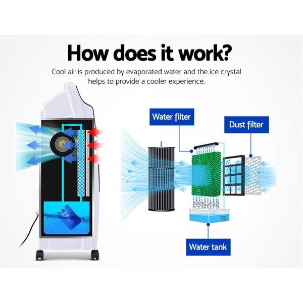 Devanti Evaporative Air Cooler Potable Fan Cooling Remote Control LED Display