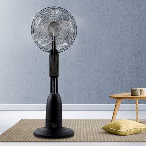 Devanti Mist Fan Pedestal Fans Cool Water Spray Timer Remote 5 Blades Black