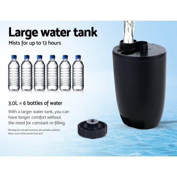 Devanti Mist Fan Pedestal Fans Cool Water Spray Timer Remote 5 Blades Black and Silver