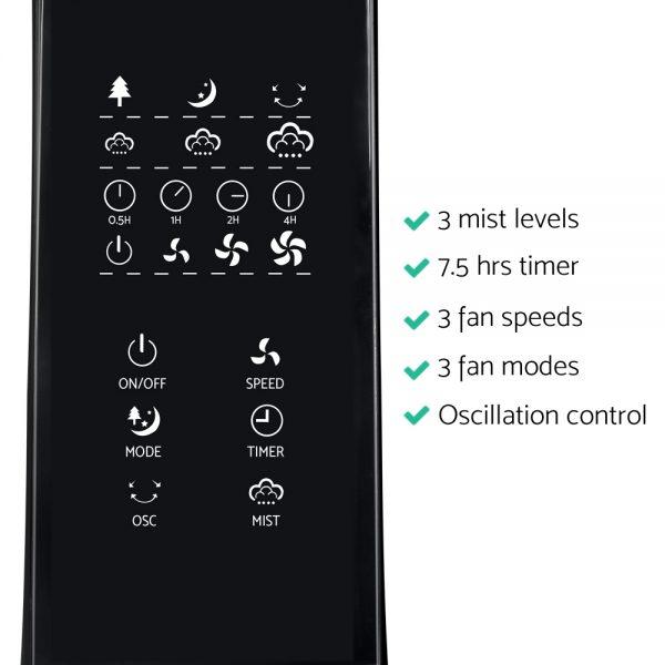 Devanti Portable Misting Fan with Remote Control - Black