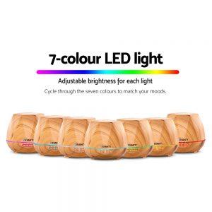 Devanti Ultrasonic Aroma Aromatherapy Diffuser Oil Electric LED Air Humidifier 400ml Light Wood