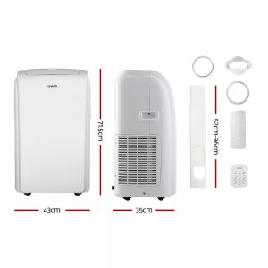 Devanti Portable Air Conditioner Cooling Mobile Fan Cooler Remote Window Kit White 3300W