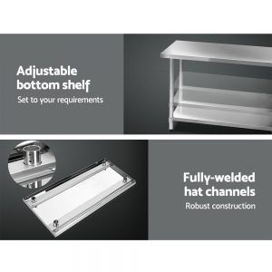 Cefito 1219 x 610mm Commercial Stainless Steel Kitchen Bench
