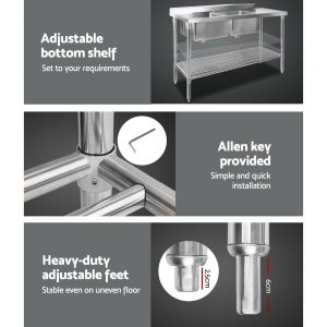 Cefito 150x60cm Commercial Stainless Steel Sink Kitchen Bench