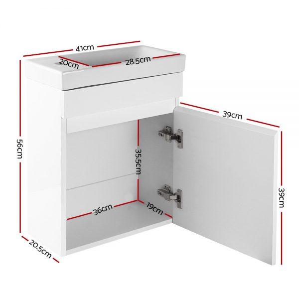 Cefito 400mm Bathroom Vanity Basin Cabinet Sink Storage Wall Hung Ceramic Basins Wall Mounted White