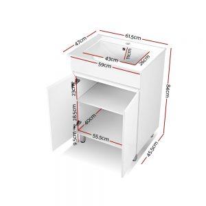 Cefito 600mm Bathroom Vanity Cabinet Unit Wash Basin Sink Storage Freestanding White