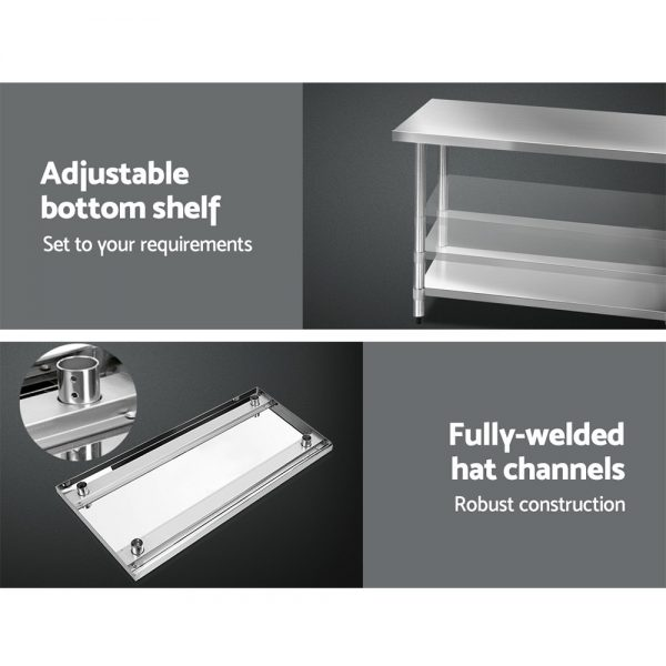Cefito 610 x 1219mm Commercial Stainless Steel Kitchen Bench