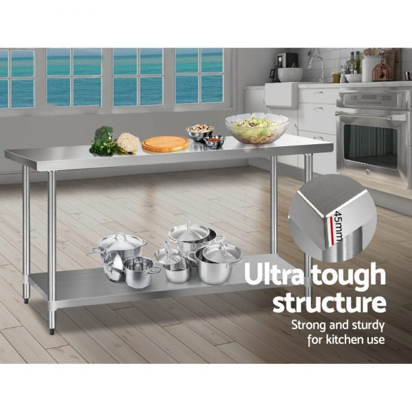Cefito 610 x 1829mm Commercial Stainless Steel Kitchen Bench