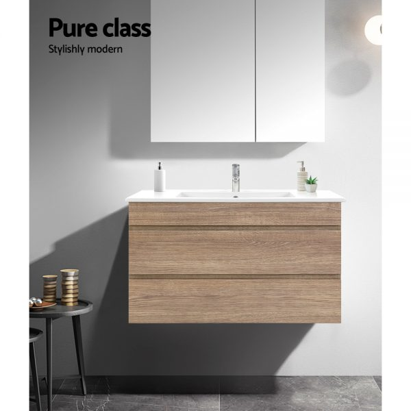 Cefito 900mm Bathroom Vanity Cabinet Wash Basin Unit Sink Storage Wall Mounted Oak White