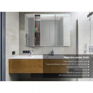 Cefito Bathroom Vanity Mirror with Storage Cabinet - Natural
