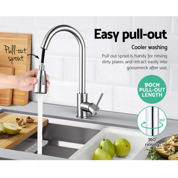 Cefito Pull-out Mixer Faucet Tap - Silver