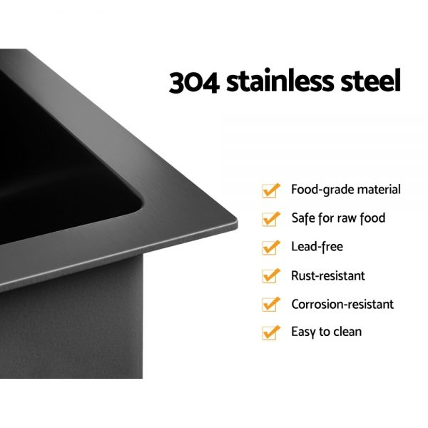 Cefito Stainless Steel Kitchen Sink 100X45CM Under Topmount Laundry Double Bowl Black