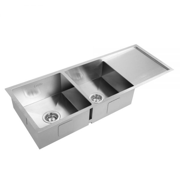 Cefito Stainless Steel Kitchen Sink 111X45CM UnderTopmount Laundry Double Bowl Silver (6)