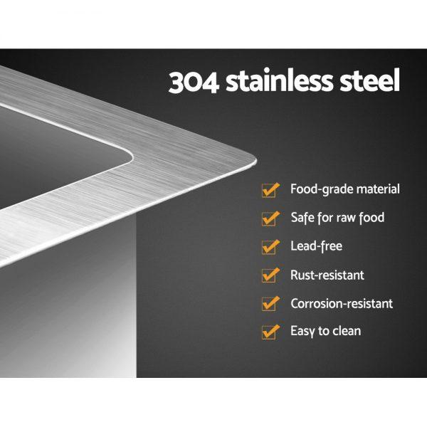 Cefito Stainless Steel Kitchen Sink 340X440MM Nano Under Topmount Sinks Laundry Silver