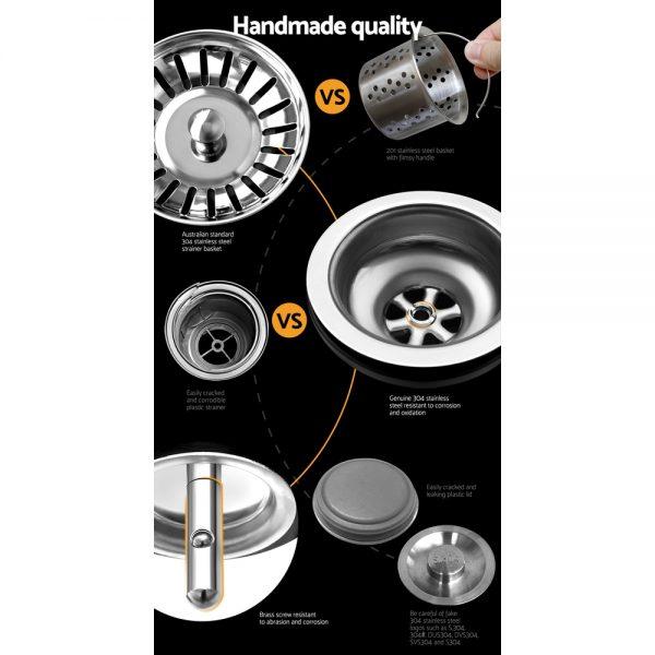Cefito Stainless Steel Kitchen Sink 450X300MM Under Topmount Sinks Laundry Bowl Black