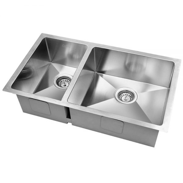 Cefito Stainless Steel Kitchen Sink 710X450MM Under Topmount Laundry Double Bowl Silver