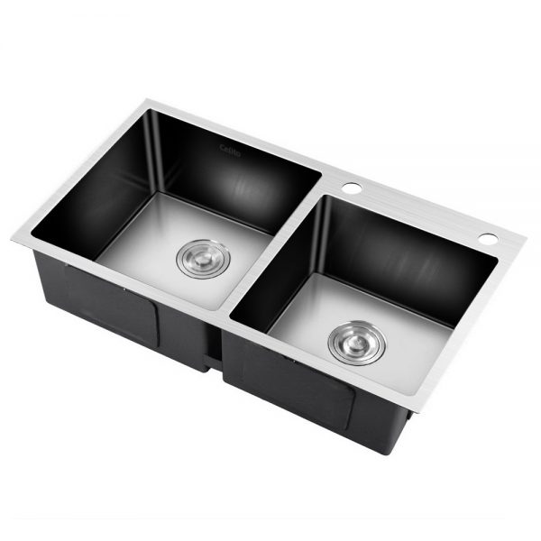 Cefito Stainless Steel Kitchen Sink 800X450MM Under Topmount Laundry Double Bowl Silver
