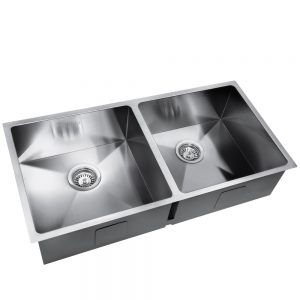 Cefito Stainless Steel Kitchen Sink 865X440MM Under Topmount Laundry Double Bowl Silver