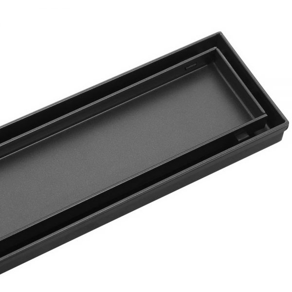Cefito Stainless Steel Shower Grate Tile Insert Bathroom Floor Drain Liner 1000MM Black