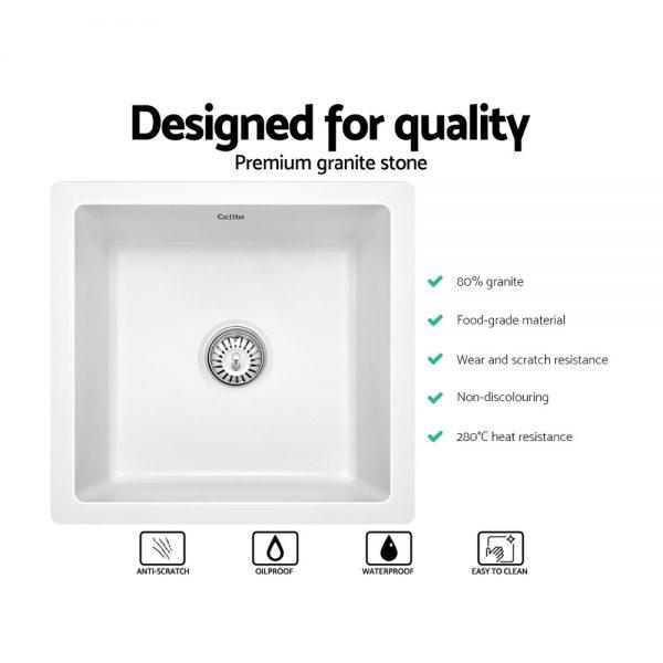 Cefito Stone Kitchen Sink 450X450MM Granite Under Topmount Basin Bowl Laundry White