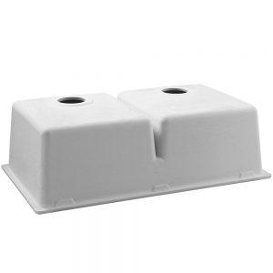 Cefito Stone Kitchen Sink 790X460MM Granite Under Topmount Basin Double Bowl White