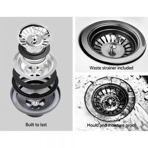 Cefito Stone Kitchen Sink 855X500MM Granite Under Topmount Basin Bowl Laundry White