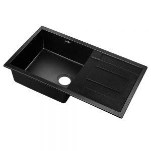 Cefito Stone Kitchen Sink 860X500MM Granite Under Topmount Basin Bowl Laundry Black