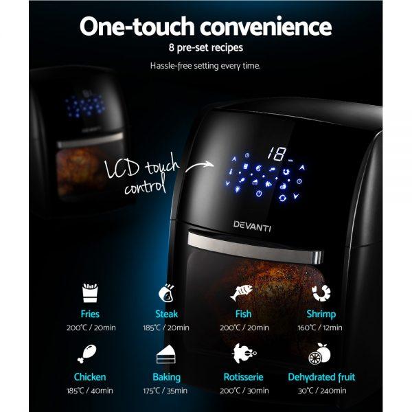 Devanti 12L Air Fryer LCD Digital Low Oil Deep Frying Oven Healthy Kitchen Cooker
