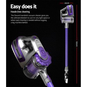 Devanti 150 Cordless Handheld Stick Vacuum Cleaner 2 Speed Purple And Grey