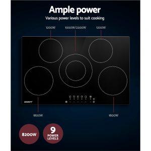 Devanti 90cm Ceramic Cooktop Electric Cook Top 5 Burner Stove Hob Touch Control 6-Zones