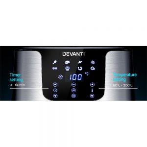 Devanti Air Fryer 7L LCD Fryers Oil Free Oven Airfryer Kitchen Healthy Cooker