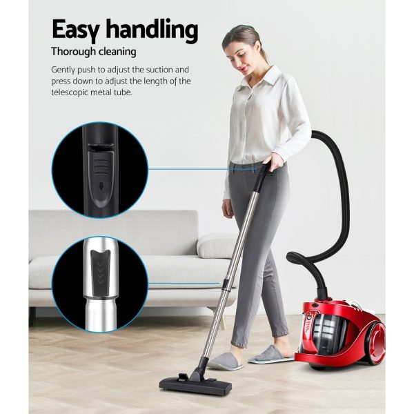 Devanti Bagless Vacuum Cleaner Cleaners Cyclone Cyclonic Vac HEPA Filter Car Home Office 2200W Red