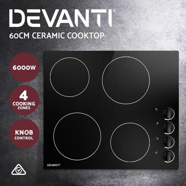 Devanti Ceramic Cooktop 60cm Electric Kitchen Burner Cooker 4 Zone Knobs Control