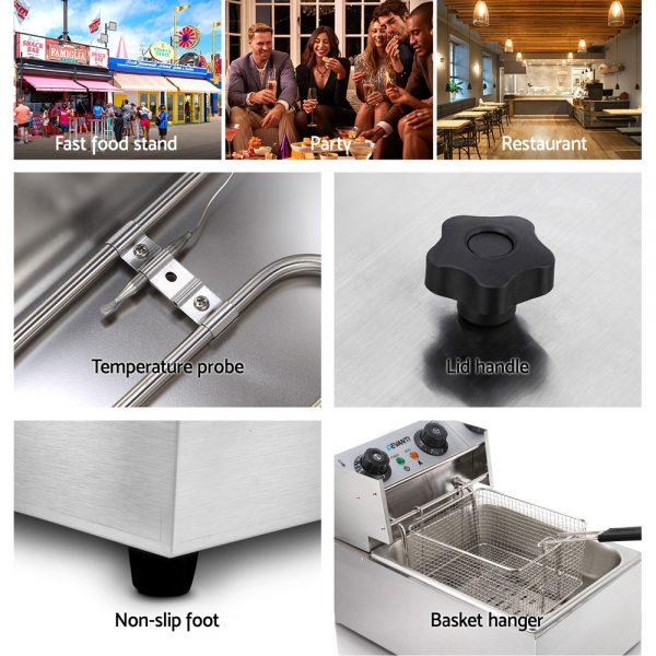 Devanti Commercial Electric Single Deep Fryer - Silver