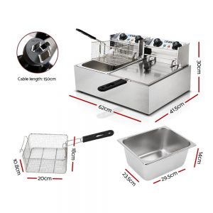 Devanti Commercial Electric Twin Deep Fryer - Silver