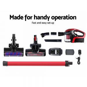 Devanti Cordless 150W Handstick Vacuum Cleaner - Red and Black