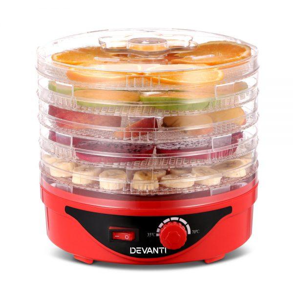 Devanti Food Dehydrator with 5 Trays - Red
