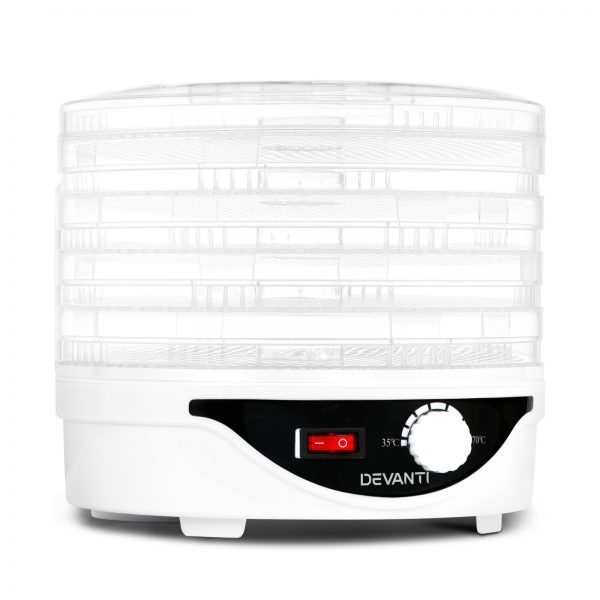 Devanti Food Dehydrator with 5 Trays - White