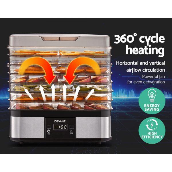 Devanti Food Dehydrator with 7 Trays - Silver