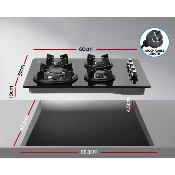 Devanti Gas Cooktop 60cm 4 Burner Glass Cook Top Cooker Stove Hob NG LPG Black