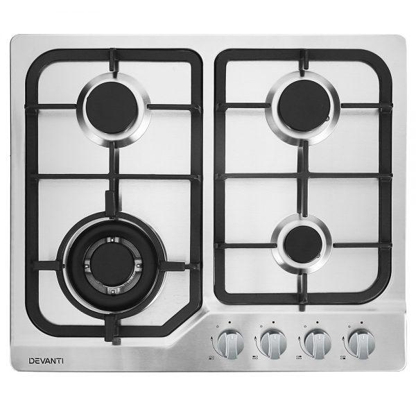 Devanti Gas Cooktop 60cm Gas Stove Cooker 4 Burner Cook Top Konbs NG LPG Steel