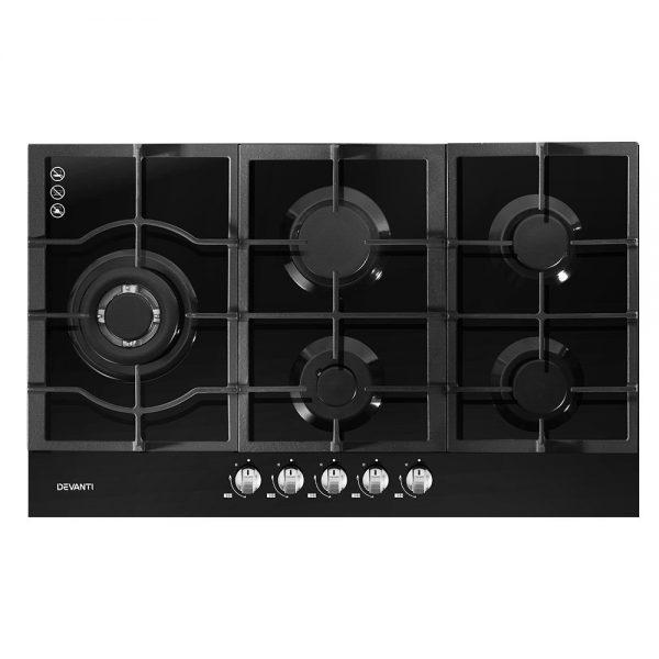 Devanti Gas Cooktop 90cm 5 Burner Stove Hob Cooker Kitchen NG LPG Black Glass